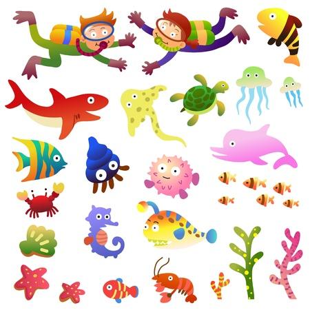 peces caricatura: Los peces del mar y los animales collection.EPS10 archivos simples degradados Vectores