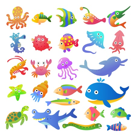 Sea fishes and animals collection Ilustrace