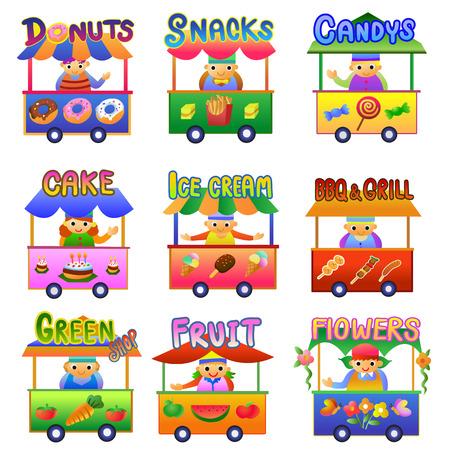 Set of Cartoon Shops. Vektoros illusztráció