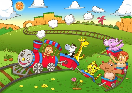 cartoon: cute animals  train  Illustration