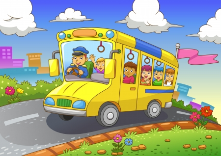 School bus  EPS10 File  Simple Gradients  All in separate layer and group for easy editing  Vector
