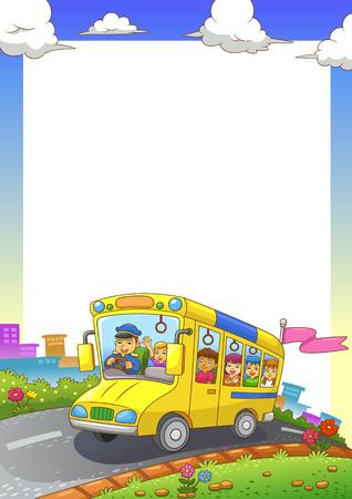 cliparts: scuolabus telaio EPS10 file semplici gradienti Tutti in gruppo separato per un facile montaggio