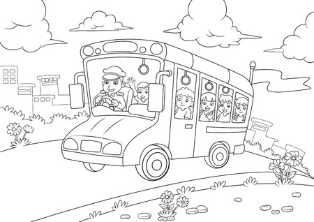 school bus outline for coloring  book  EPS10 File