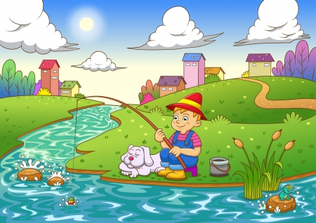 fishing boy. EPS10 File  simple Gradients,  simple Transparencies.All in separate group for easy editing.  イラスト・ベクター素材