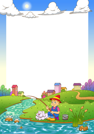 fishing boy frame. EPS10 File  simple Gradients,  simple Transparencies.All in separate group for easy editing.  イラスト・ベクター素材