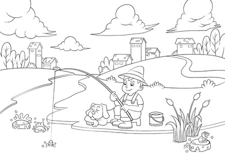 fishing boy for coloring book. EPS10 File  simple Gradients,  simple Transparencies.All in separate group for easy editing.