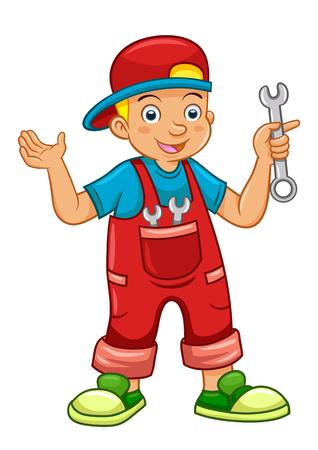 mechanic  boy. EPS10 File simple. no Gradients, no Effects Vector
