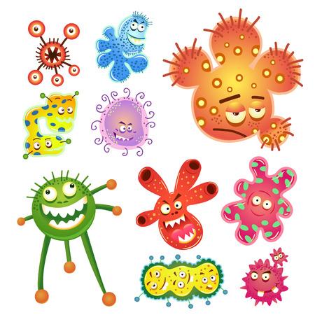 박테리아와 바이러스의 만화. EPS10 쉽게 편집 할 모든 별도의 그룹에서 간단한 그라데이션을 파일.