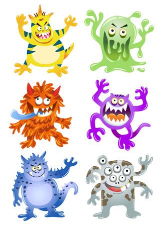 Set of funny cartoon monsters.EPS10 File  simple Gradients
