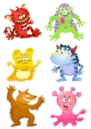 divertido: Conjunto de dibujos animados divertidos monsters.EPS10 Archivo - Gradientes simples Vectores