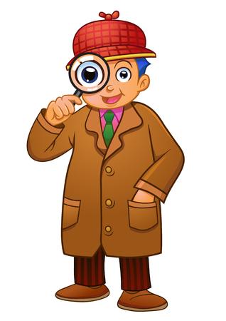 crime solving: detective boy. EPS10 File  simple Gradients.
