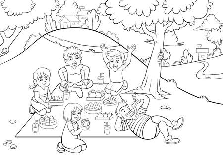 picknicken voor het kleuren. EPS10 Bestand. Vector Illustratie