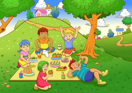happy family nature: picnic. EPS10 File  simple Gradients, no Effects, no mesh, no Transparencies. All in separate layer and group for easy editing. Illustration