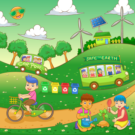 children Save our green world.EPS10 File  simple Gradients Vector