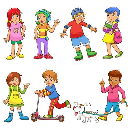 conjunto de desenhos animados crian