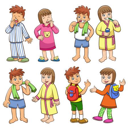 男の子と女の子の毎日の朝の生活のイラスト。 写真素材 - 24806387