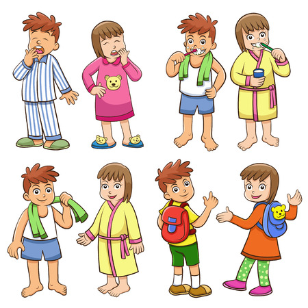 illustration of boy and girl daily morning life.  Vector