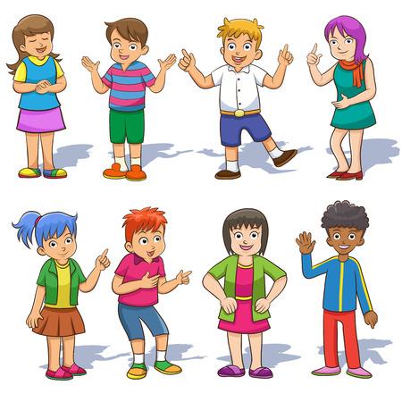 Set of cute cartoon kids. EPS10  File simple technique  no Gradients  no Effects no mesh no Transparencies.