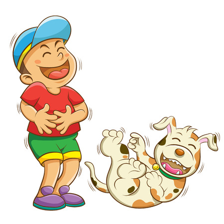 boy and dog laughing.