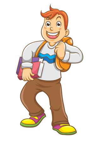 niños saliendo de la escuela: Niño que va a la escuela con su mochila