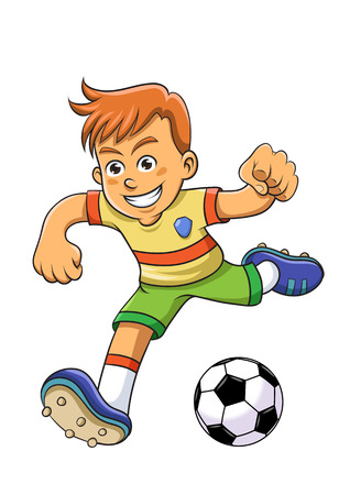 football kick: Soccer boy. Illustration