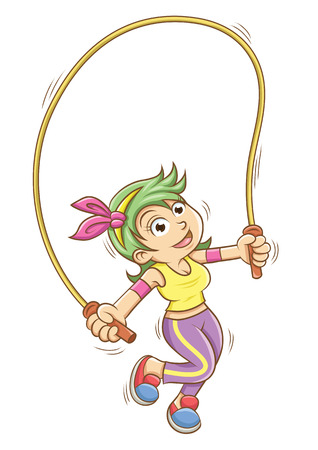 girl playing with a skipping rope.  Vector