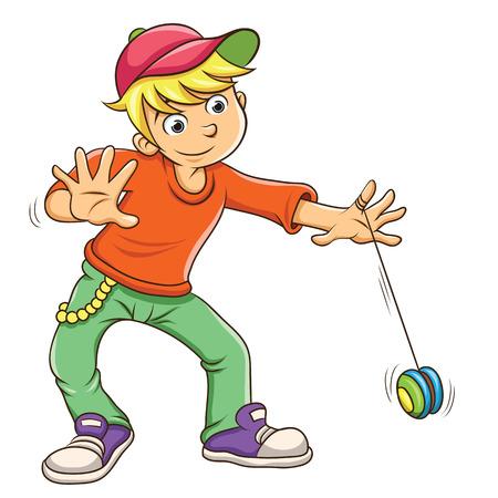 Rapaz pequeno que joga yo yo. Ilustra��o