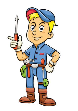 Cute mechanic cartoon holding a screw.