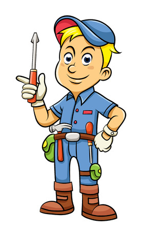 Cute mechanic cartoon holding a screw. Vector