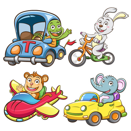 monkey cartoon: funny vehicle and animal set.