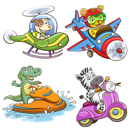 helicopter pilot: funny vehicle and animal set.