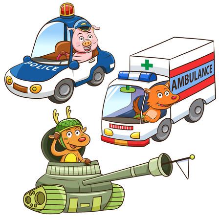 動物車両職業漫画。  イラスト・ベクター素材