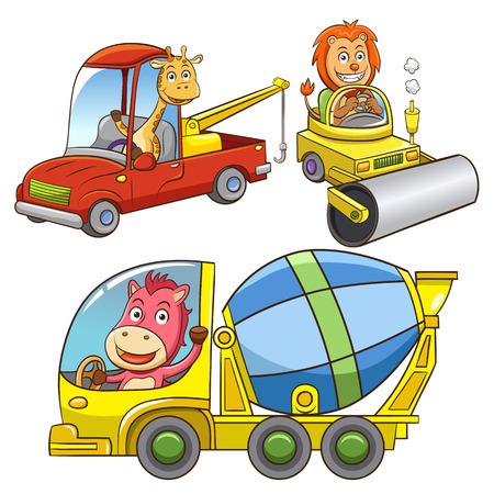 steamroller: set of construction vehicle animal cartoon.