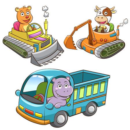hipopotamo caricatura: conjunto de animales dibujos animados veh�culo de construcci�n.