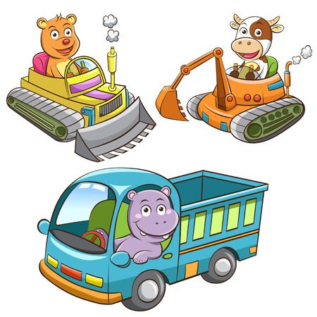 set of construction vehicle animal cartoon.  Vector