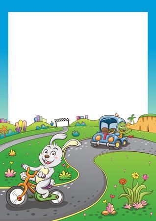 rabbit and turtle.   simple Gradients Illustration