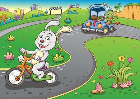 ウサギとカメ。 簡単なグラデーション  イラスト・ベクター素材