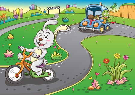 Kaninchen und Schildkröte. Einfache Farbverläufe Standard-Bild - 30889344
