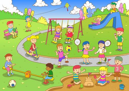 enfant qui joue: playground.EPS10 fichier d�grad�s simples Illustration