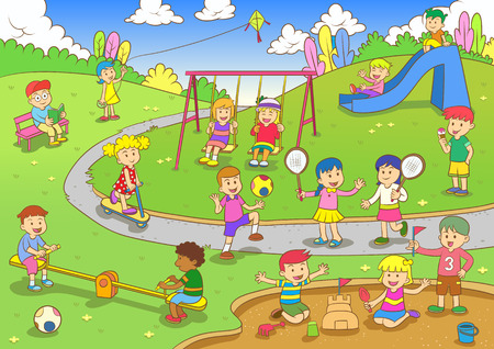 kids garden: playground.EPS10 File  simple Gradients