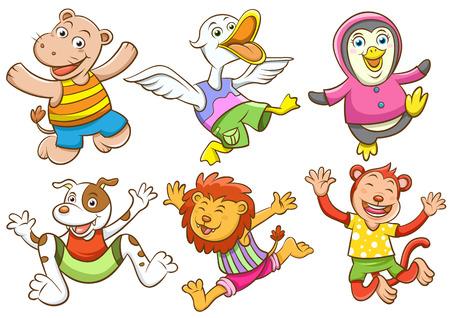 かわいい漫画幸せな動物のセット。EPS10 ファイルの簡単なテクニック グラデーションも影響がないメッシュない透明。