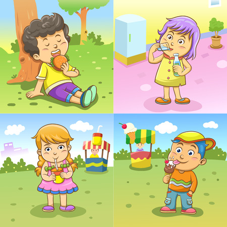 set of child activities routines Vector