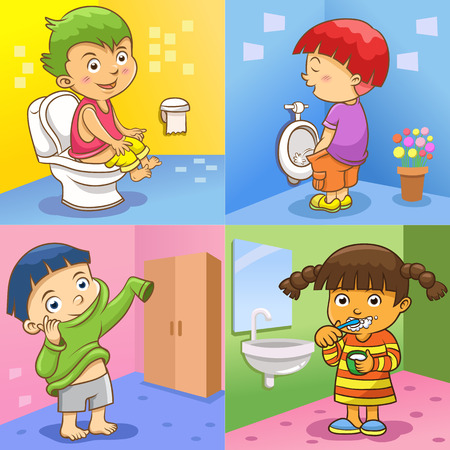 girl toilet: set of child daily activities