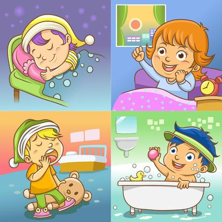 set of daily activities cartoon Vector