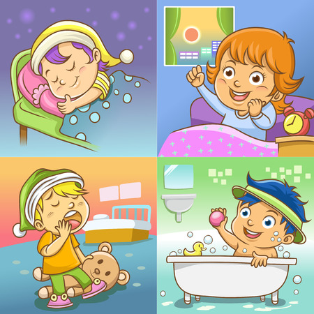 routine: set of daily activities cartoon