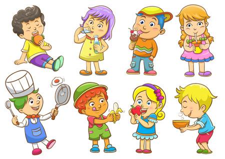 platano caricatura: conjunto de actividades infantiles rutinas Vectores