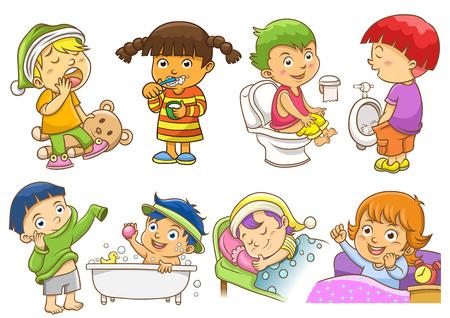 kid vector: conjunto de actividades rutinas diarias