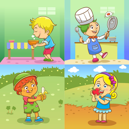 routines: set of child activities cartoon Illustration