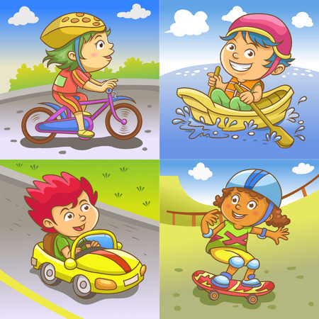 racing bicycle: illustration of children playing different sports. EPS 10 simple Gradients