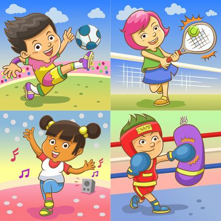 様々 なスポーツを遊んでいる子供たちのイラスト。EPS10 簡単なグラデーション  イラスト・ベクター素材